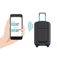 smart baggage with wireless control vector image