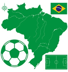 Soccerball on map of Brazil vector