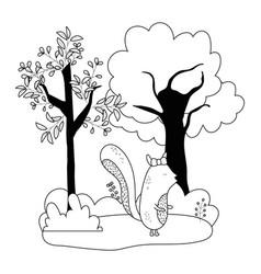 Squirrel cartoon in autumn season design vector