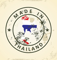 Stamp with map flag of thailand vector
