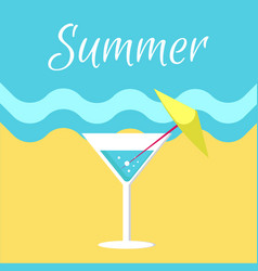 summer poster with martini glass on beach vector image