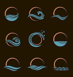 sun and sea icons vector image