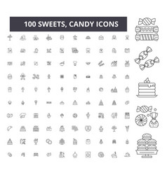 sweets candy editable line icons 100 set vector image