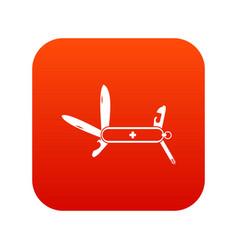 swiss multipurpose knife icon digital red vector image