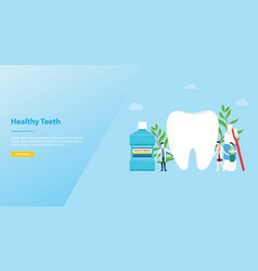 teeth or tooth care healthy with team doctor and vector image