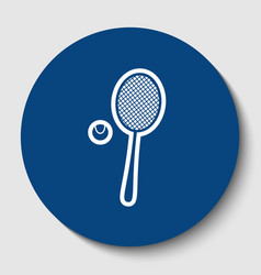 Tennis racquet with ball sign white vector
