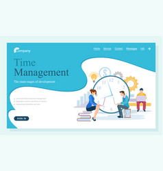 Time management website working people webpage vector