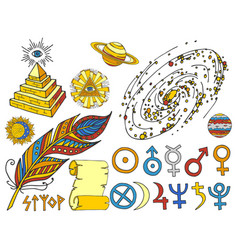 trendy mystic and magic esoteric symbols sketch vector image