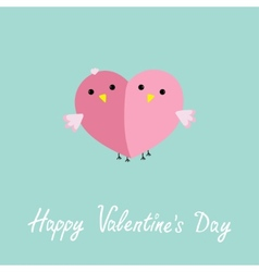 Two pink birds in shape of half heart Love cart vector image
