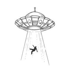 ufo kidnaps human engraving vector image