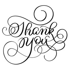 vintage hand drawn text thank you on white vector image