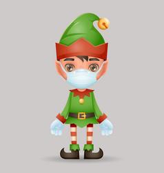 virus protected christmas elf boy santa claus vector image
