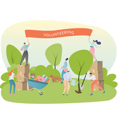 Volunteer organization concept people planting vector
