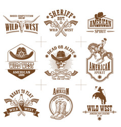 wild west logos collection vector image