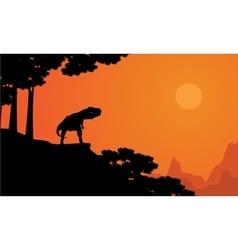 Dinosaur Tyrannosaurus on the cliff scenery vector image vector image