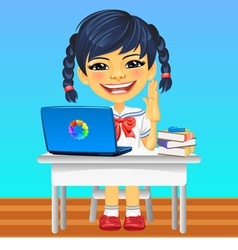 Happy smiling Asian schoolgirl vector image vector image
