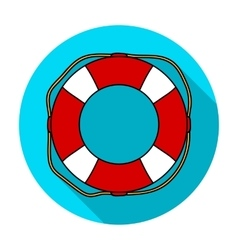 Lifebuoy icon in flat style isolated on white vector image