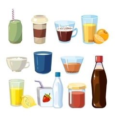 Non-alcoholic beverages set in cartoon vector image vector image