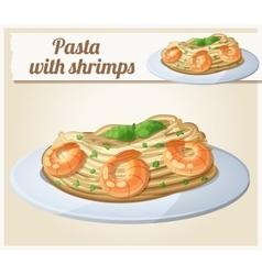 Pasta with shrimps Cartoon icon vector image