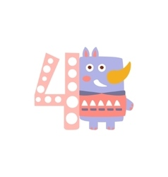 Rhinoceros Standing Next To Number Four Stylized vector image vector image