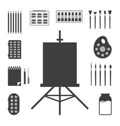 set of black art things vector image