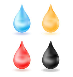 set of realistic drops yellow blue red black vector image vector image