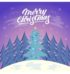 Cute Christmas landscape background with snow and vector image vector image