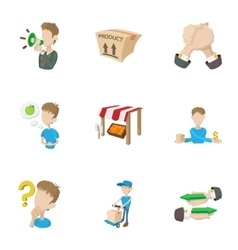 In-store sales icons set cartoon style vector image vector image