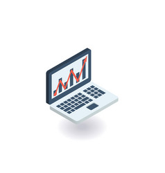 laptop with line chart icon vector image