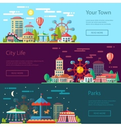 Modern flat design conceptual city with carousels vector image