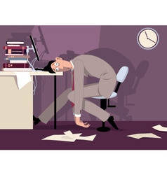 Tired man at work vector