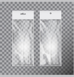 transparent blank plastic bag template set white vector image vector image