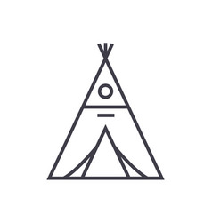 wigwam line icon sign on vector image