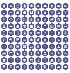 100 needlework icons hexagon purple vector