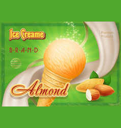 almond ice cream in the cone advertising vector image