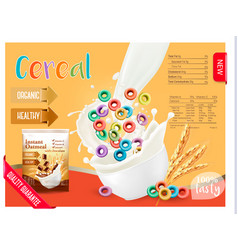 cereal with milk dising template vector image vector image