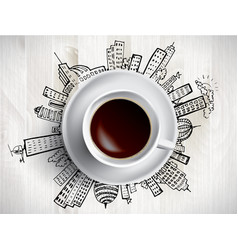 Coffee cup concept - city doodles with cofee mug vector
