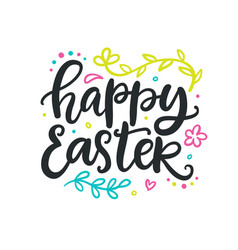 happy easter poster with hand lettering vector image vector image