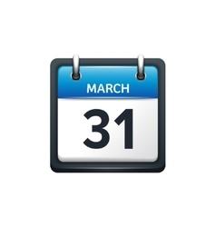 March 31 calendar icon flat vector
