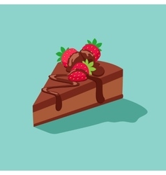 piece of chocolate cake with strawberries vector image