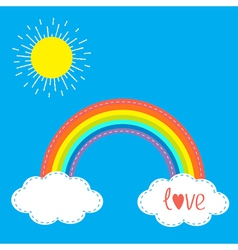 Rainbow clouds and sun in the sky Dash line Love vector image vector image