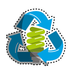 Sticker green save bulb with recycling symbol vector
