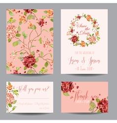 Vintage hortensia flowers - for wedding invitation vector