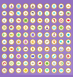 100 connection icons set in cartoon style vector image vector image