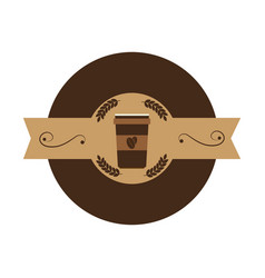 Coffee glass drink icon vector
