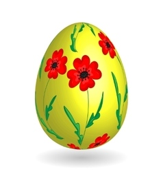 Colorful easter yellow egg with ornate doodle vector image