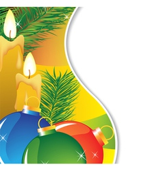 Fir branches and burning candles vector image