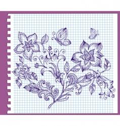 floral pattern ink vector image vector image