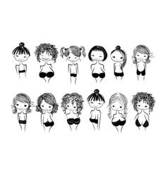 Girls in bras sketch for your design vector image