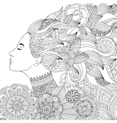 Hand drawn woman with floral vector